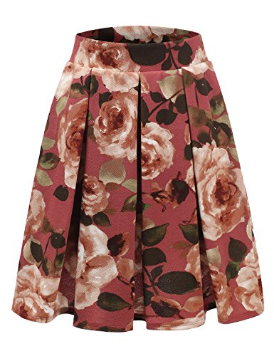 Doublju Elastic Waist Flare Pleated Skater Midi Skirt for Women with Plus Size MAUVETAUPE 2XL