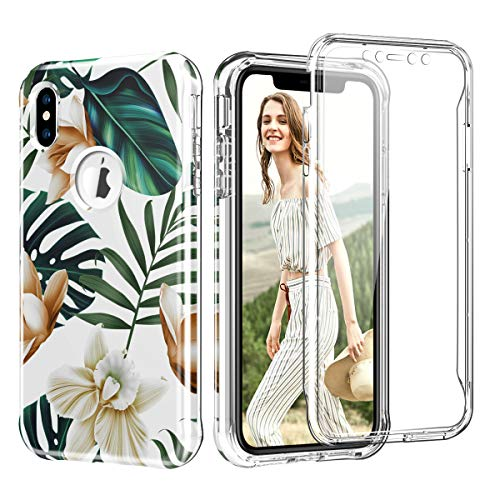 Leaves Protector Case - Hocase iPhone Xs Max Case with Built-in Screen Protector, Hard Front Casing+High-Impact TPU Rubber Bumper Shockproof Full Body Protective Case for iPhone Xs Max 6.5 2018 - Tropical Leaves Flowers