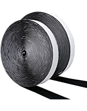 DEHAO 10M Black Self Adhesive Hook and Loop Strip Tape Set, Self Adhesive Sticky Tape, Double Sided Sticky Tape, Sticky Back Fastening Tape(Black)