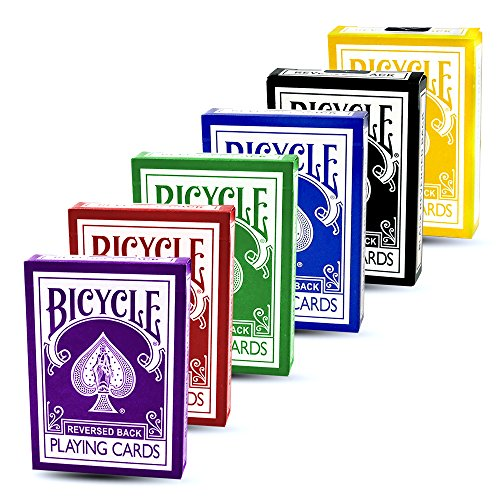 Magic Makers Bicycle Reverse Back Decks Combo Pack - Red, Black, Yellow, Blue, Purple, and Green Decks - Gaff Cards Included in Each Deck (Best Magic Deck Color Combo)