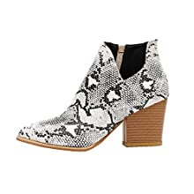 FENBEN Womens Ankle Boots Slip on Cutout Pointed Toe Snakeskin Chunky Stacked Mid Heel Booties (Snakeskin,8)