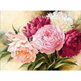 5D Full Drill Diamond Painting Square Rhinestone Rose Peony Flowers DIY Embroidery Arts Craft Adults' Children's Paint Paint-By-Diamond Kits cross stitch for Home Decoration 12X16 inch (Peony Flowers)