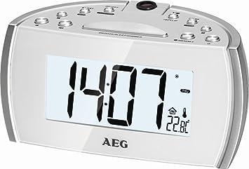 Proyector de reloj radio despertador radio despertador estación meteorológica despertador (15,5 cm Gran pantalla LED + 2 alarmas): Amazon.es: Electrónica