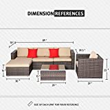 SUNCROWN Outdoor Furniture Sectional Sofa and Chair (6 Piece Set) All-Weather Checkered Wicker Seat Cushions and Modern Glass Coffee Table, Patio, Backyard, Pool, Waterproof Cover