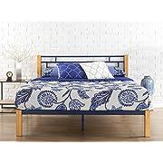 Zinus Taylan Metal and Wood Platform Bed / Mattress Foundation / Wood Slat Support, King