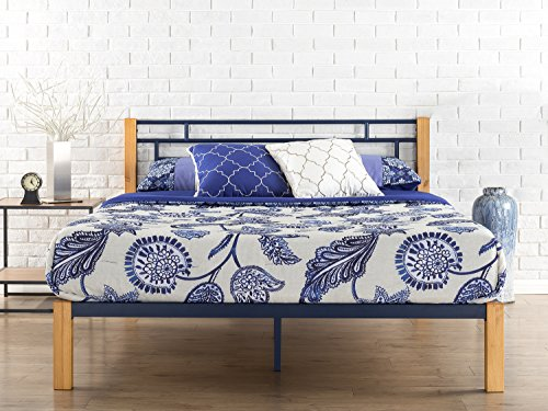 Zinus Taylan Metal and Wood Platform Bed / Mattress Foundation / Wood Slat Support, King