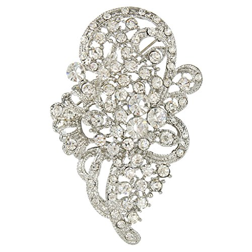 EVER FAITH Women's Austrian Crystal Wedding Bridal Flower Leaf Ribbon Brooch Clear Silver-Tone by EVER FAITH