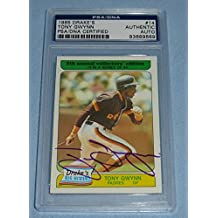 Tony Gwynn Signed 1985 Topps Drake's Baseball Card #14 COA Padres Auto'd - PSA/DNA Certified - Baseball Slabbed Autographed Cards