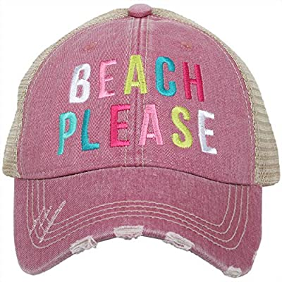 Katydid Womens Beach Please Multicolored Embroidered Trucker Hat