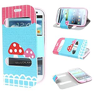 TUTUWEN Mushroom View Window Design PU leather Flip Case Cover for Samsung Galaxy III S3 i9300