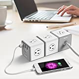 Huntkey Cubic Surge Protector USB Wall Adapter with 4 AC Outlets 3 USB Charging Ports