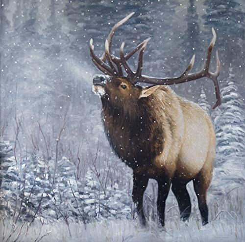 Emperor of the Woods - Western Elk in Snow Yellowstone Fine Art - Limited Edition Giclee Print with Genuine ()