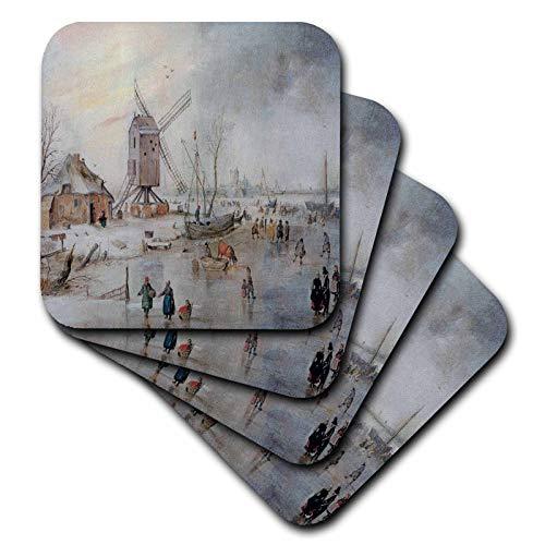 3dRose BLN Scenes of Winter Fine Art Collection - Winter Landscape on a Frozen River Near a Windmill, Hedrick Avercamp - set of 4 Ceramic Tile Coasters (cst_180259_3)
