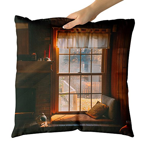 Westlake Art - Fireplace Sunlight - Decorative Throw Pillow Cushion - Picture Photography Artwork Home Decor Living Room - 18x18 Inch (3FACC) by Westlake Art
