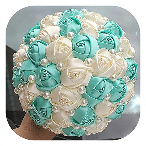 (The best of us Pure Handmade Mint Green Ivory Pearl Beaded Bridal Bouquet Simple Hand Holding Bow Flowers Wedding Bouquet W322-1,Mint Green Ivory 18c)
