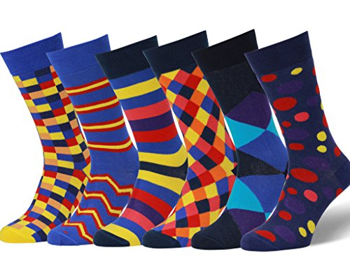 Easton Marlowe Men's Colorful Patterned Dress Socks - 6pk #23, neutral colors - 43-46 EU shoe size -