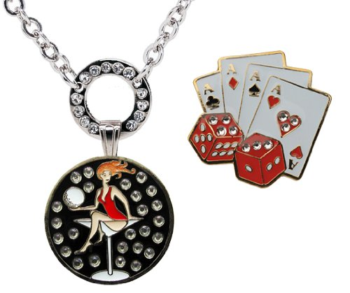 Magnetic Ball Marker Necklace with Casino (Cards & Dice) Accented with Genuine Swarovski Crystals and Golfaholic Adorned with Crystals