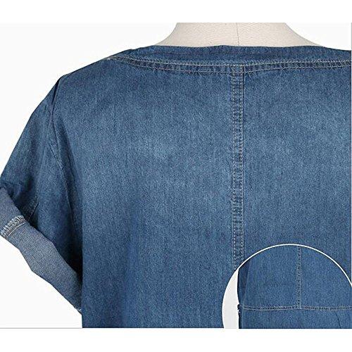 Plus Mode Robes Size Couleur Manches Hellomiko courtes Bleu Denim Dress Solide Denim Bleu Mini Fonc avec poche fonc SdwzzRqvn