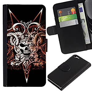 KingStore / Leather Etui en cuir / Apple Iphone 6 / Devil Rock Metal Horns Cráneo Negro