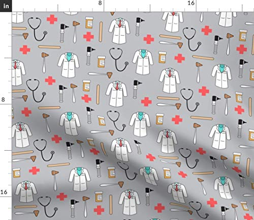 Spoonflower Doctor Fabric - Medical Supplies Hospital Doctor Medical Doctor Match Day Medic Health Care Doctor Coat Fun by Littlearrowdesign Printed on Eco Canvas Fabric by The Yard