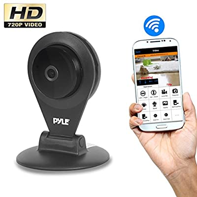 Indoor Wireless Security IP Camera - HD720p Home WiFi Remote Video Monitor w/ Motion Detection and Night Vision - Network Surveillance, Voice Mic Audio for Mobile, Windows & Mac - Pyle PIPCAMHD22BK
