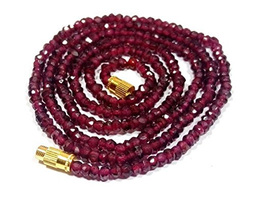 Garnet Bead Necklace - 1 Strand Natural Indian garnet beads necklace - faceted beaded 16