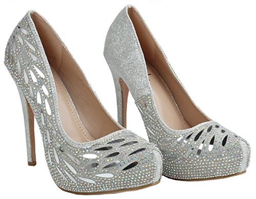 Bella Luna Myra Sparkle Crystal Gem Rhinestone Glitter Mesh Formal Evening Dress Pumps Silver_flower Nq5iKMETHP