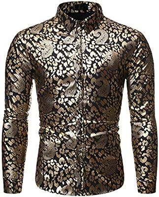 jfhrfged Camisa de Hombre Manga Larga con Botones Camisa Estampada Cuello Alto Sudadera Slim Fit Top Pullover Casual, Oro, S -EU: Amazon.es: Deportes y aire libre