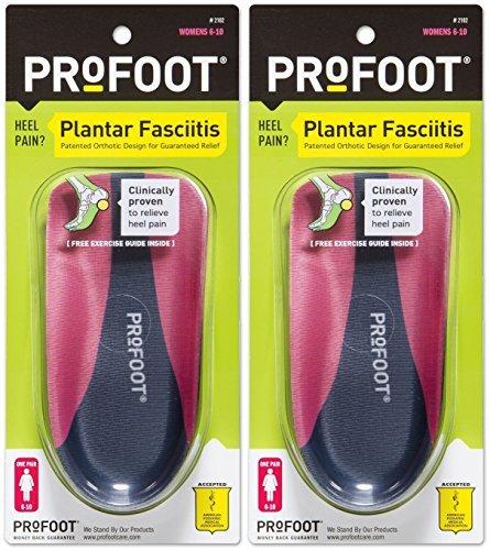 PROFOOT Plantar Fasciitis Orthotics, Women's 6-10, 2 Pairs