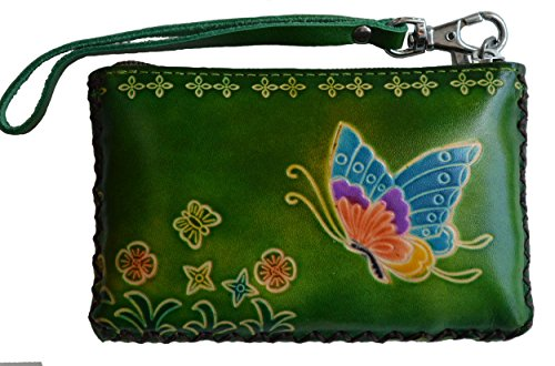 Leather Change Purse,Wristlet Wallet,Rectangle,A Flying Butterfly and Flower. (Green) by BPLeathercraft