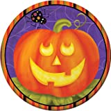 8-Count Round Paper Dessert Plates, Halloween Jolly Jack-O-Lanterns