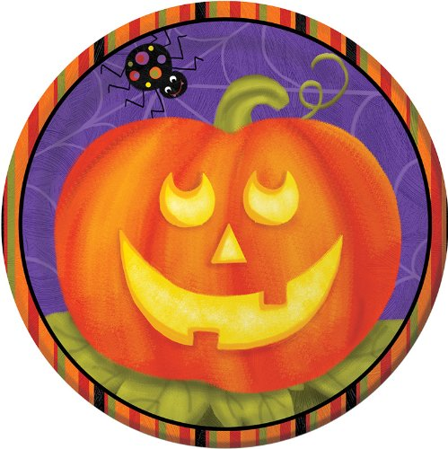 8-Count Round Paper Dessert Plates, Halloween Jolly Jack-O-Lanterns (Jolly Jack O-lantern)