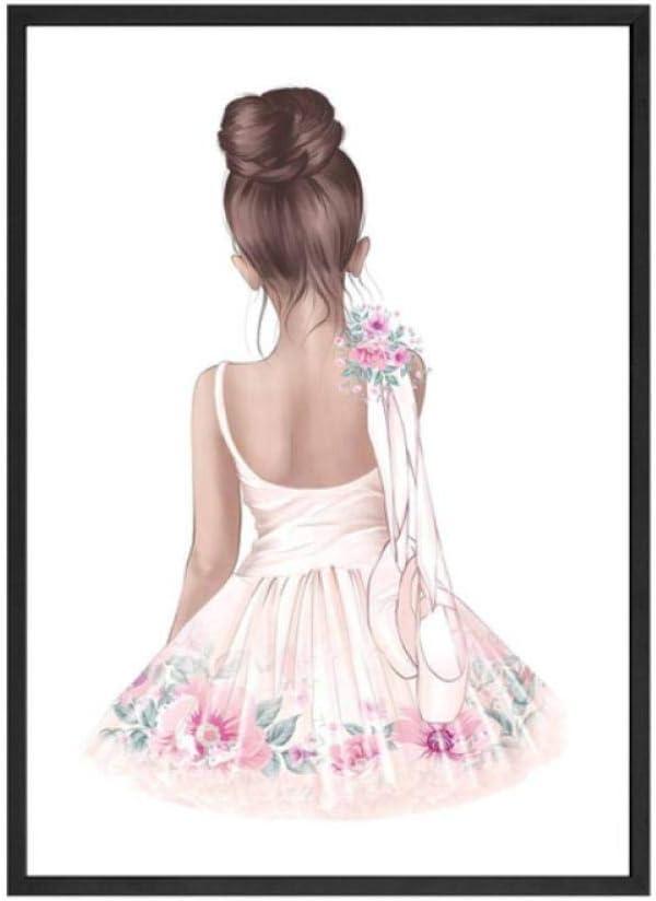 Ballett Tanz M/ädchen Baby Kinderzimmer Wandkunst Leinwand Poster und Drucke Rosa Cartoon Malerei Nordische Kinder Dekoration Bild Raum Dekor 50x70 cm ohne Rahmen