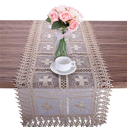 Newisher Vintage Gold Lace Embroidered Floral Table Runner Crocheted Patterns Rectangle for Wedding Dining Party 15 x 70 Inch