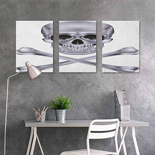 HOMEDD Original Oil Painting,Grey Vivid Skull and Crossed Bones Dangerous Scary Dead Skeleton Evil Face Halloween Theme,Oil Canvas Painting Wall Art 3 Panels,16x24inchx3pcs Dimgray]()