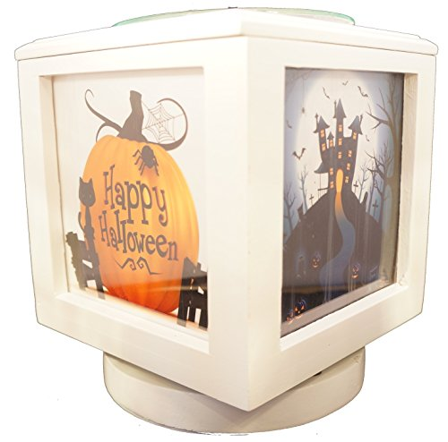 Memory Box Picture Frame and Electric Wickless Candle Warmer Combo - Add Your Own Photos! Halloween Photo Set Included! ()