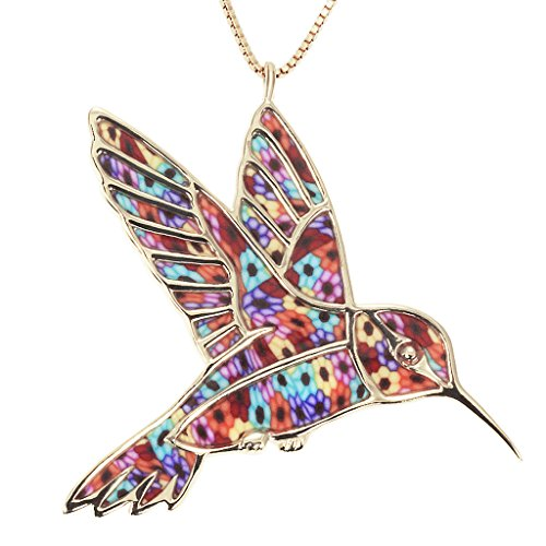 Gold Plated Silver Hummingbird Necklace Pendant Multi-Color Polymer Clay Bird Jewelry, 16.5