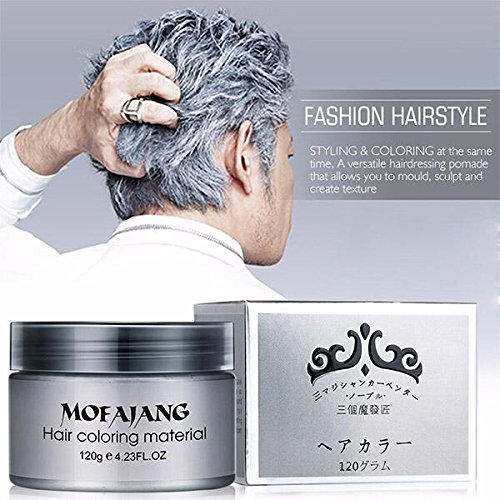 VeniCare Hair Wax Temporary Hair Color Wax 4.23oz MOFAJANG Natural Matte Hairstyle Coloring Easy Operate Free Styles Hair for Men Women,Dye Wax for Party,Masquerade,Nightclub,Cosplay (Grey)