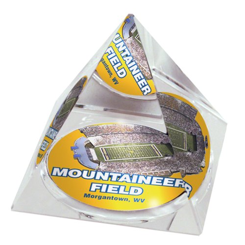 "NCAA West Virginia University Mountaineer stadium in 2"" Crystal Pyramid with Colored Windowed Gift Box"
