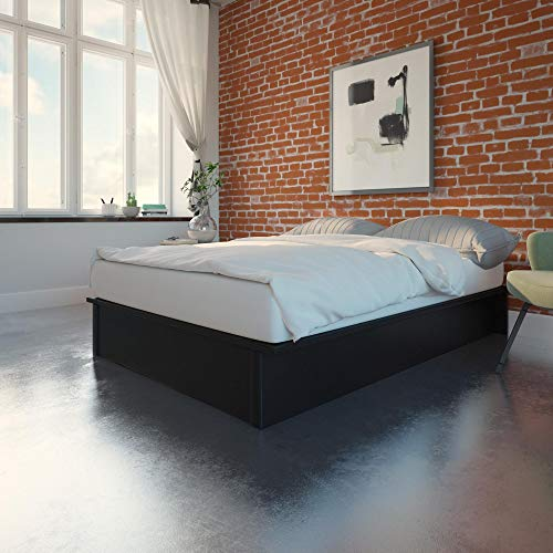 DHP Maven Upholstered Bed, Black, Queen