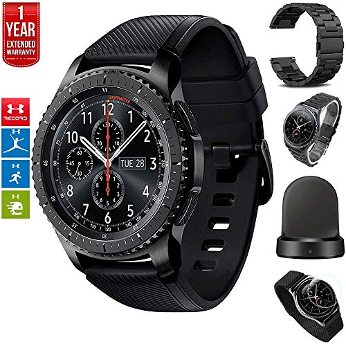 Samsung Gear S3 Frontier Bluetooth Watch Built-in GPS Dark Gray Bundle w/Wireless Charger, Glass Screen Protector, Silver + Black Metal Wrist Bands 1 Year Extended Warranty