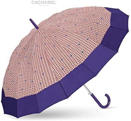 Un Paraguas Super Resistente al Viento y Muy Elegante con Toda la Calidad de Cacharel. autom/ático Tejido Estampado con Cenefa Lisa Paraguas de Mujer Cacharel 16 Varillas y antiviento