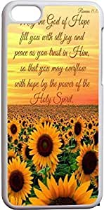 May The God Of Hope Fill You With All Joy And Peace As You Trust In Him So That You May Overflow With Hope By The Power Of The Holy Spirit Christian Quote Bible Verses Pattern Print High Quality Hard Plastic Cover Protector Sleeve Case For Apple Iphone 5C
