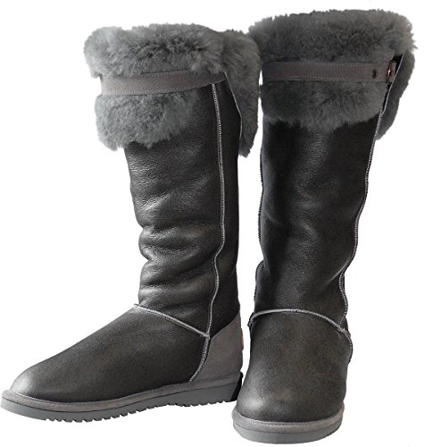 Harrys-Collection Hohe Lammfell Stiefel mit Fester Sohle in 3 Farben Grau