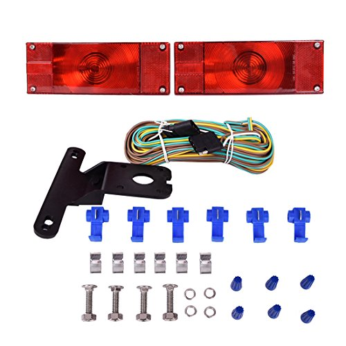 CZC AUTO 12V Low Profile Submersible Rectangular Trailer Light Kit Tail Stop Turn Running Lights for Boat Trailer Truck RV (Kit Light Rectangular)