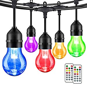 2-Pack 48FT Multicolor LED String Lights Outdoor, Dimmable RGB Patio Lights with 30+5 E26 Plastic Bulbs, Remote Control…
