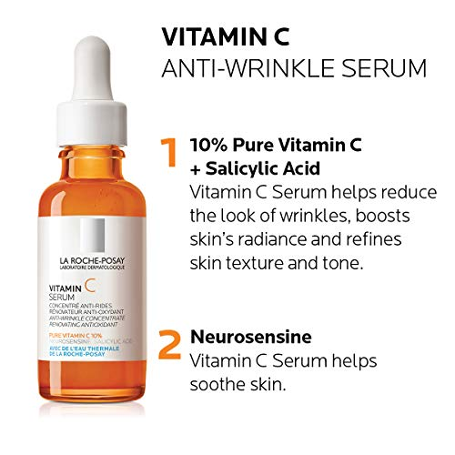 51 sMTNxBZL - La Roche-Posay Pure Vitamin C Face Serum with Salicylic Acid. Anti Aging Face Serum for Wrinkles & Uneven Skin Texture to Visibly Brighten & Smooth. Suitable for Sensitive Skin, 1.0 Fl. Oz.