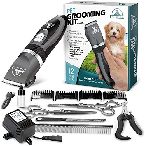 Pet Union Professional Dog Grooming Kit - Rechargeable, Cordless Pet Grooming Clippers & Complete Set of Dog Grooming Tools. Low Noise & Suitable for Dogs, Cats and Other Pets (Gunmetal) from Pet Union