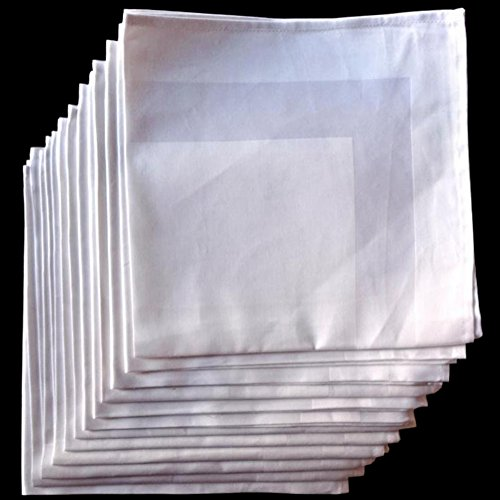 American Pillowcase Cloth Dinner Napkins Set of 12 - White Satin Band Napkins - 100% Egyptian Cotton 22x22 ()