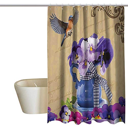 MaryMunger Country Decor Collection Floral Shower Curtain Small Bluebirds Hummingbirds Pansy Flowers with Blue Vase on a Vintage Letter Single stall Shower Curtain W72 x L72 Purple Beige